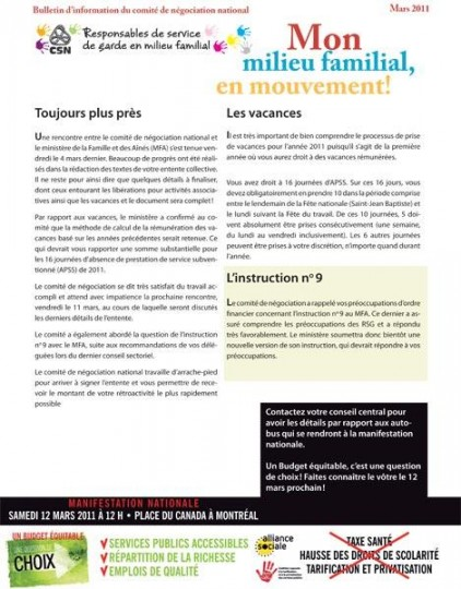 Bulletin Info-RSG, 8 mars 2011