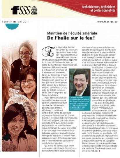 Bulletin d'information du personnel des techncien-nes et des professionnel-es, mai 2011