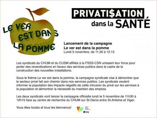 Lancement de la campagne Le ver est dans la pomme le 5 novembre prochain