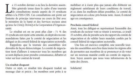 Bulletin Info-Négo no. 30 du secteur préhospitalier