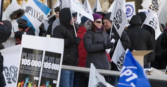 Manifestation intersyndicale pour appuyer le blitz de négociation