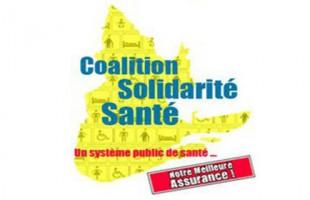 Action de la Coalition Solidarité santé pour l'abolition de la taxe santé