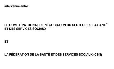 Mise à jour de la convention collective du secteur de la santé et des services sociaux