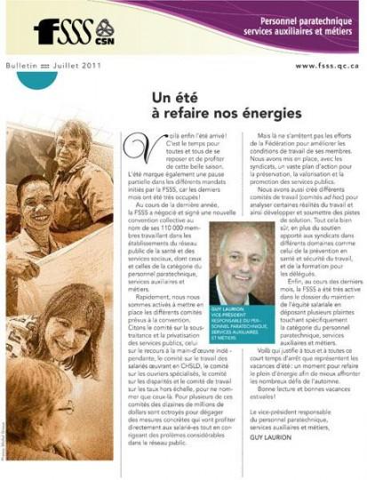Bulletin d'information du personnel paratechnique, services auxiliaires et métiers 2011