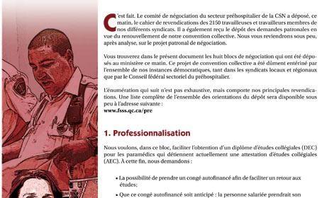 Info-Négo No. 1 du secteur préhospitalier FSSS-CSN