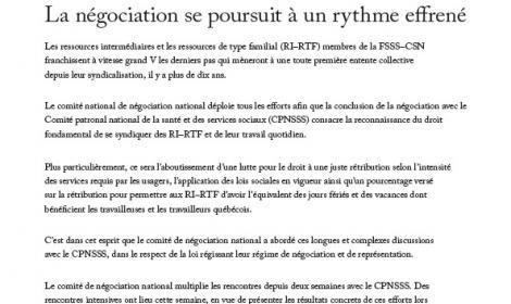 Bulletin Info-négo no 13 des RI-RTF