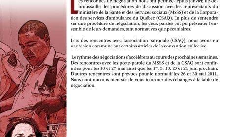 Bulletin Info-négo du 13 mai 2011 des préhospitaliers