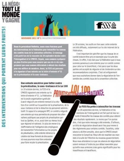 Bulletin Info-Négo sur la poursuite des travaux des comités