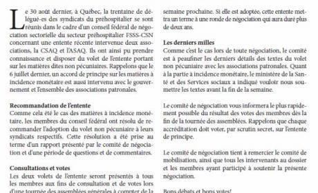 Bulletin Info-Négo no. 29 du secteur préhospitalier