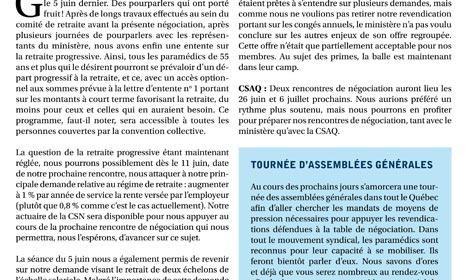 Bulletin Info-négo no. 24 du secteur préhospitalier