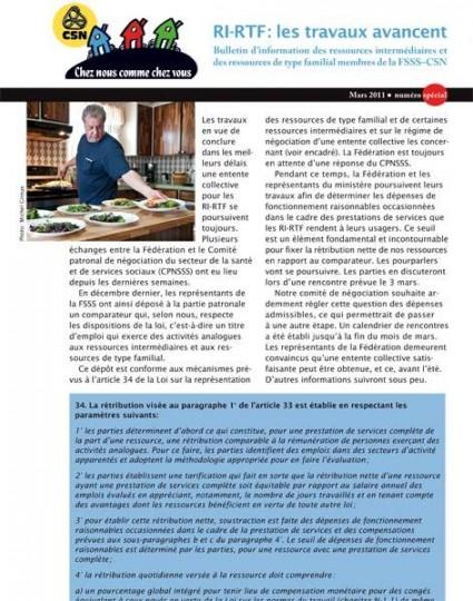 Bulletin d'information des RI-RTF, mars 2011