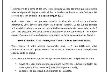 Registre national de la main-d'oeuvre préhospitalière