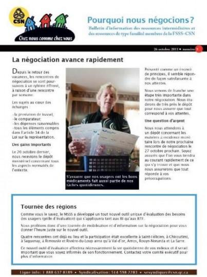 Bulletin d'information des RI-RTF du 26 octobre 2011