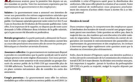 Bulletin Info-Négo no 18 des préhospitaliers