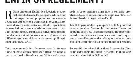 Bulletin Info-négo no. 28 du secteur préhospitalier