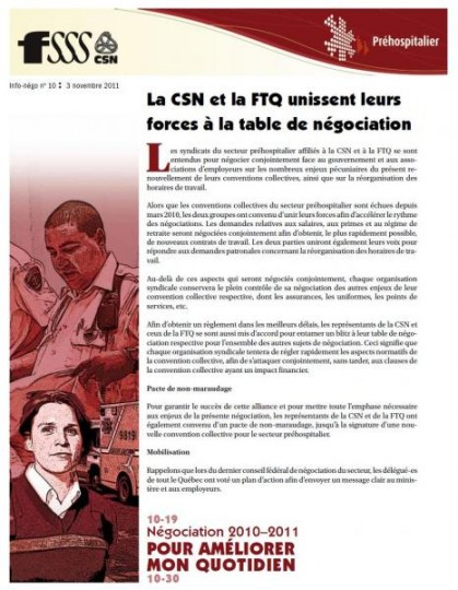Bulletin Info-Négo du 3 novembre 2011