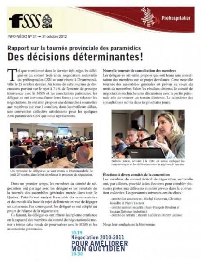Bulletin Info-Négo no. 31 du secteur préhospitalier