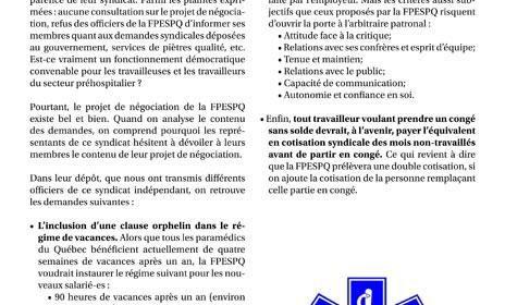 Tract secteur préhospitalier : la FPESPQ veut négocier des reculs pour ses membres