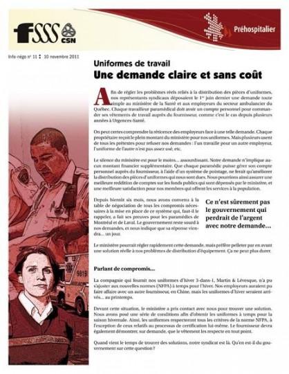 Bulletin Info-négo no 11 des préhospitaliers