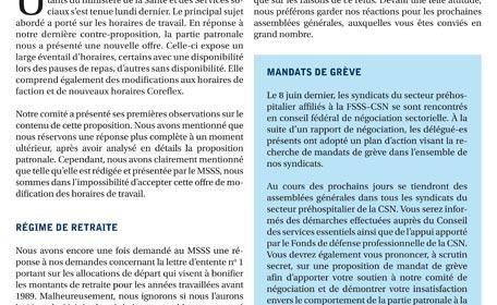 Bulletin Info-négo no. 25 du secteur préhospitalier