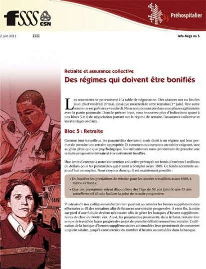 Bulletin Info-négo secteur préhospitalier, juin 2011