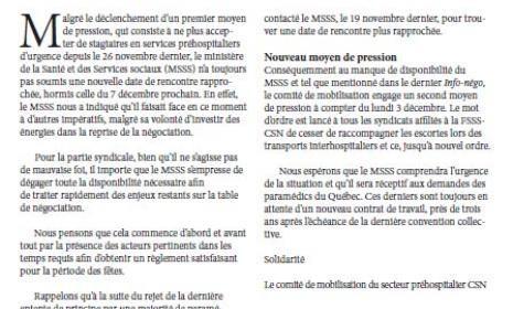 Bulletin Info-Négo no. 34 du secteur préhospitalier