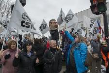 Manifestation à l'Hôpital Maisonneuve-Rosemont contre l'austérité en santé et services sociaux