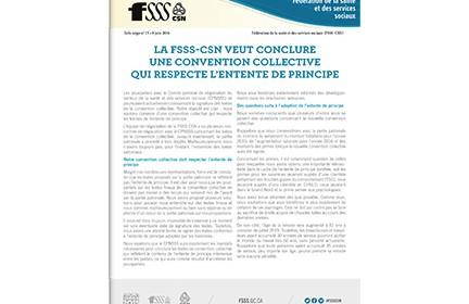 La FSSS-CSN veut conclure une convention collective qui respecte l'entente de principe