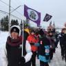Manifestation à Sainte-Anne-des-Monts contre Optilab