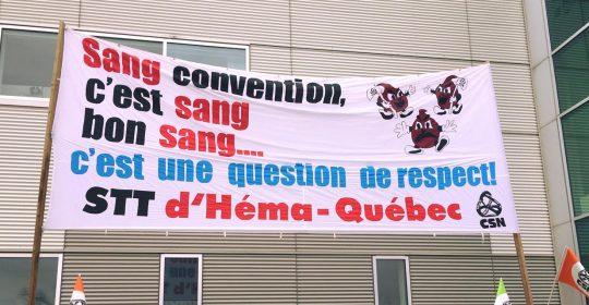 Les employé-es d'Héma-Québec se dotent d'un mandat de grève