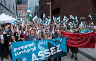 Manifestation de la FSSS-CSN devant le CHUM