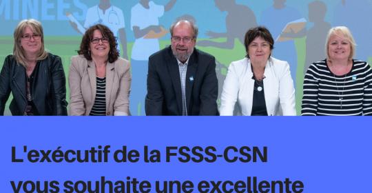 Vœux de Noël de l'exécutif de la FSSS-CSN