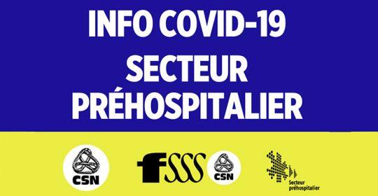 Demande d'une approche secteur COVID-19 pour les services préhospitaliers d'urgence au Québec