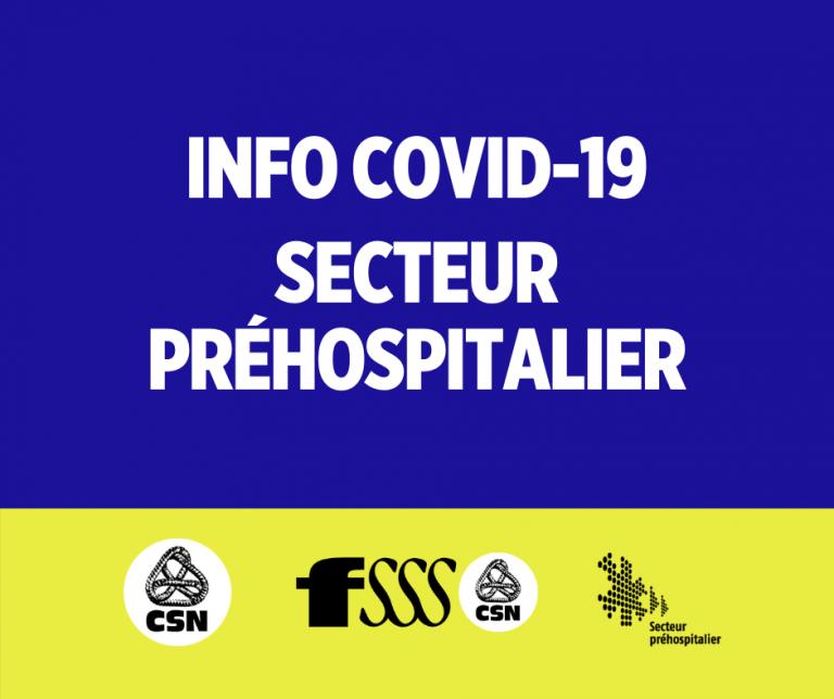 COVID-19 : Documentation pour le préhospitalier